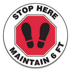 "Accuform® Slip-Gard Social Distance Floor Signs, 12"" Circle, ""Stop Here Maintain 6 ft"", Footprint, Red/White, 25/Pack"