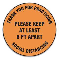 "Accuform® Slip-Gard Floor Signs, 17"" Circle,""Thank You For Practicing Social Distancing Please Keep At Least 6 ft Apart"", Orange, 25/PK"