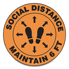 "Accuform® Slip-Gard Social Distance Floor Signs, 17"" Circle, ""Social Distance Maintain 6 ft"", Footprint, Orange, 25/Pack"