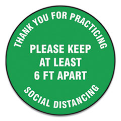 "Accuform® Slip-Gard Floor Signs, 17"" Circle, ""Thank You For Practicing Social Distancing Please Keep At Least 6 ft Apart"", Green, 25/PK"