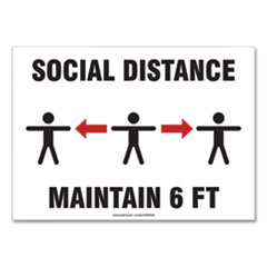 "Accuform® Social Distance Signs, Wall, 10 x 7, ""Social Distance Maintain 6 ft"", 3 Humans/Arrows, White, 10/Pack"