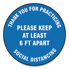 "Accuform® Slip-Gard Floor Signs, 17"" Circle, ""Thank You For Practicing Social Distancing Please Keep At Least 6 ft Apart"", Blue, 25/PK"