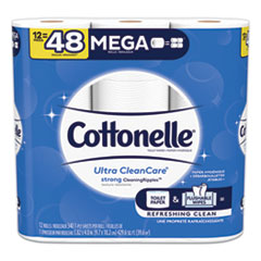 Cottonelle® Ultra CleanCare Toilet Paper, Strong Tissue, Mega Rolls, Septic Safe, 1 Ply, White, 340 Sheets/Roll, 12 Rolls