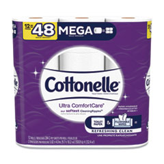 Cottonelle® Ultra ComfortCare Toilet Paper, Soft Tissue, Mega Rolls, Septic Safe, 2 Ply, White, 284 Sheets/Roll, 12 Rolls