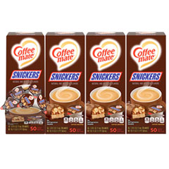Coffee mate® Liquid Coffee Creamer, Snickers, 0.38 oz Mini Cups, 200 Cups/Carton