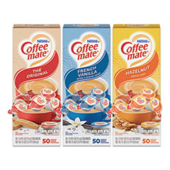 Coffee mate® Liquid Coffee Creamer, French Vanilla/Hazelnut/Original, 0.38 oz Mini Cups, 150 Cups/Carton