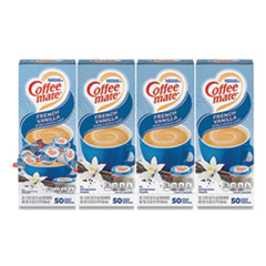 Coffee mate® Liquid Coffee Creamer, French Vanilla, 0.38 oz Mini Cups, 50/Box, 4 Boxes/Carton, 200 Total/Carton