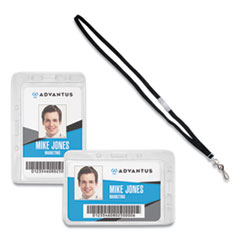 Advantus Antimicrobial ID & Security Badge and Lanyard Combo Pack
