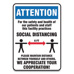 Accuform® Social Distance Signs, Wall, 7 x 10, Patients and Staff Social Distancing, Humans/Arrows, Blue/White, 10/Pack