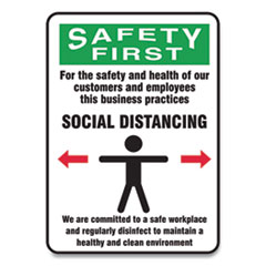 Accuform® Social Distance Signs, Wall, 7 x 10, Customers and Employees Distancing Clean Environment, Humans/Arrows, Green/White, 10/PK