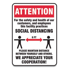 Accuform® Social Distance Signs, Wall, 7 x 10, Customers and Employees Distancing, Humans/Arrows, Red/White, 10/Pack