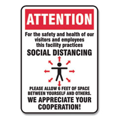 Accuform® Social Distance Signs, Wall, 7 x 10, Visitors and Employees Distancing, Humans/Arrows, Red/White, 10/Pack