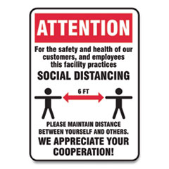 Accuform® Social Distance Signs, Wall, 10 x 14, Customers and Employees Distancing, Humans/Arrows, Red/White, 10/Pack