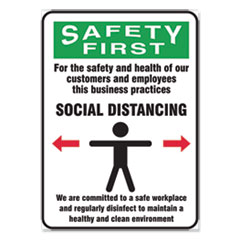 Accuform® Social Distance Signs, Wall, 10 x 14, Customers and Employees Distancing Clean Environment, Humans/Arrows, Green/White, 10/PK