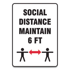 "Accuform® Social Distance Signs, Wall, 7 x 10, ""Social Distance Maintain 6 ft"", 2 Humans/Arrows, White, 10/Pack"