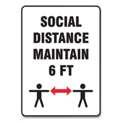 "Accuform® Social Distance Signs, Wall, 10 x 14, ""Social Distance Maintain 6 ft"", 2 Humans/Arrows, White, 10/Pack"