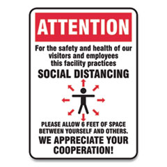 Accuform® Social Distance Signs, Wall, 10 x 14, Visitors and Employees Distancing, Humans/Arrows, Red/White, 10/Pack