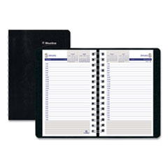 Blueline® DuraGlobe Daily Planner Ruled For 30-Minute Appointments, 8 x 5, Black, 2021