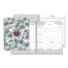 Blueline® Doodleplan Weekly/Monthly Appointment Book, 11 x 8.5, Botanica, 2022