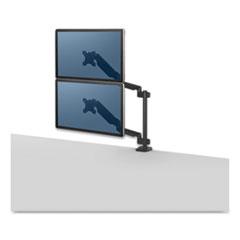 """Fellowes® Platinum Series Dual Stacking Arm for 27"""" Monitors, 360 deg Rotation, 180 deg Tilt, 360 deg Pan, Black, Supports 22 lb"""