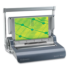 Fellowes® Quasar Manual Wire Binding Machine, 18 1/8 x 15 3/8 x 5 1/8, Metallic Gray