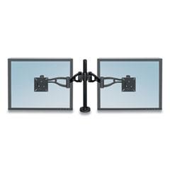 Fellowes® Professional Series Depth Adjustable Dual Monitor Arm, 360 deg Rotation, 37 deg Tilt, 360 deg Pan, Black, Supports 24 lb