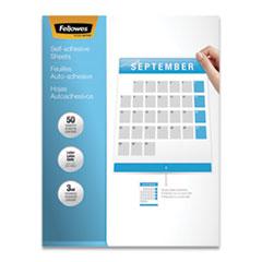"Fellowes® Self-Adhesive Laminating Sheets, 3 mil, 9.25"" x 12"", Gloss Clear, 50/Box"