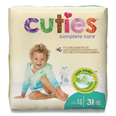 Cuties® Premium Jumbo Diapers, Size 4, 22 lbs to 37 lbs, 124/Carton