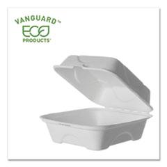 Eco-Products® Vanguard Renewable and Compostable Sugarcane Clamshells, 6 x 6 x 3, White, 500/Carton