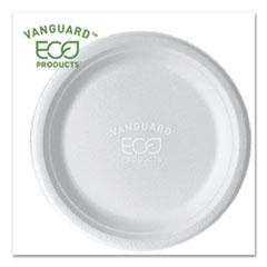 "Vanguard Renewable and Compostable Sugarcane Plates, 9"" dia, White, 500/Carton"