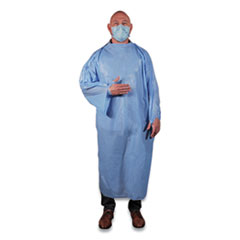 Heritage T-Style Isolation Gown, LLDPE, 68 x 50, One Size Fits Most, Light Blue, 50/Carton