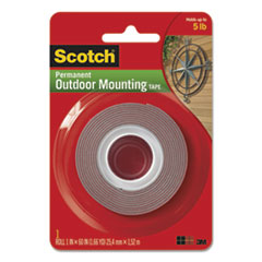 "Scotch® Exterior Weather-Resistant Double-Sided Tape, 1"" x 60"", Gray"