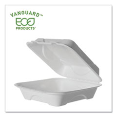Eco-Products® Vanguard Renewable and Compostable Sugarcane Clamshells, 1-Compartment, 8 x 8 x 3, White, 200/Carton