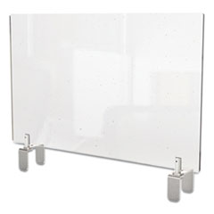 Ghent Clear Partition Extender with Attached Clamp, 36 x 3.88 x 30, Thermoplastic Sheeting