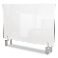 Ghent Clear Partition Extender with Attached Clamp, 29 x 3.88 x 30, Thermoplastic Sheeting