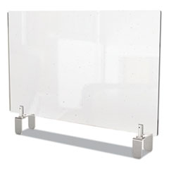 Ghent Clear Partition Extender with Attached Clamp, 42 x 3.88 x 30, Thermoplastic Sheeting