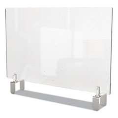 Ghent Clear Partition Extender with Attached Clamp, 42 x 3.88 x 24, Thermoplastic Sheeting