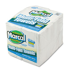 Marcal® Small Steps 100% Premium Recycled Towels, 1-Ply, Multi-fold, White, 250 Sheets/Pack, 8 Packs/Carton