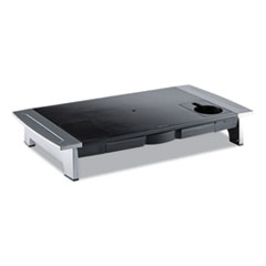 """Fellowes® Office Suites Premium Monitor Riser, 27"""" x 14"""" x 4"""" to 6.5"""", Black/Silver"""