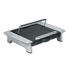 """Fellowes® Office Suites Monitor Riser Plus, 19.88"""" x 14.06"""" x 4"""" to 6.5"""", Black/Silver, Supports 80 lbs"""