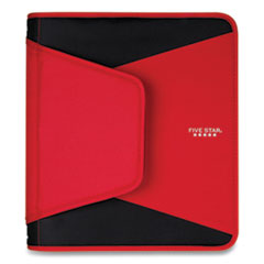 """Five Star® Tech Zipper Binder, 3 Rings, 1.5"""" Capacity, 11 x 8.5, Red/Black Accents"""
