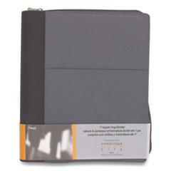"Mead® Cambridge City Zipper Binder, 3 Rings, 1"" Capacity, 11 x 8.5, Gray/Black Accents"