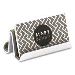 Advantus Fusion Double-Sided Business Card Holder, Holds 2.25 x 4 Cards, Polypropylene, Gray/White