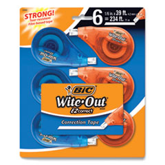 """BIC® Wite-Out EZ Correct Correction Tape, Non-Refillable, 0.17"""" x 468"""", White Tape, 6/Pack"""
