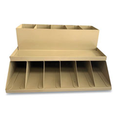 CONTROLTEK® Coin Wrapper and Bill Strap Two-Tier Rack, 11 Compartments, 9.38 x 8.13 4.63, Metal, Pebble Beige