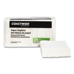 Coastwide Professional™ Eco-ID Recycled Luncheon Napkins, 1-Ply, 11.5 x 12.5, White, 400/Pack