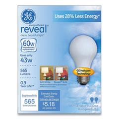 GE Reveal Energy-Efficient A19 Halogen Light Bulb, 43 W, Soft White, 2/Pack