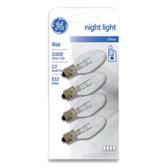 GE Incandescent C7 Night Light Bulb, 4 W, Clear, 4/Pack