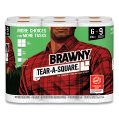 Brawny® Tear-A-Square Perforated Kitchen Roll Towels, 2-Ply, 5.5 x 11, 96 Sheets/Roll, 6 Rolls/Pack