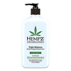 Hempz® Triple Moisture Herbal Whipped Body Creme, 17 oz Pump Bottle, Grapefruit and Peach